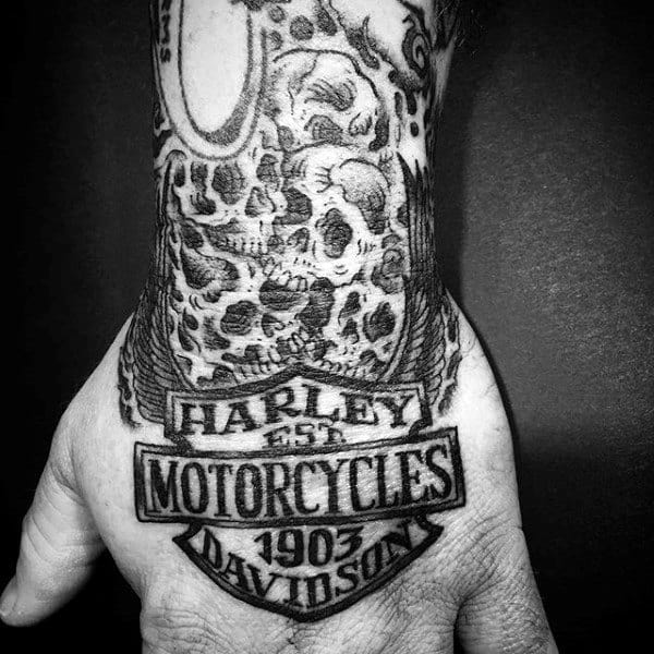 Manly Black Ink Harley Davidson Skull Tattoo Designs On Hand And Wrist For Men