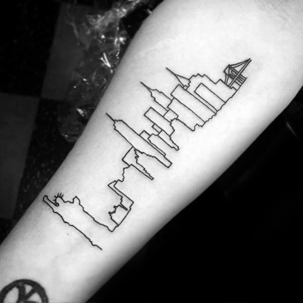 Manly Black Ink Outline New York Skyline Tattoo Design Ideas For Men