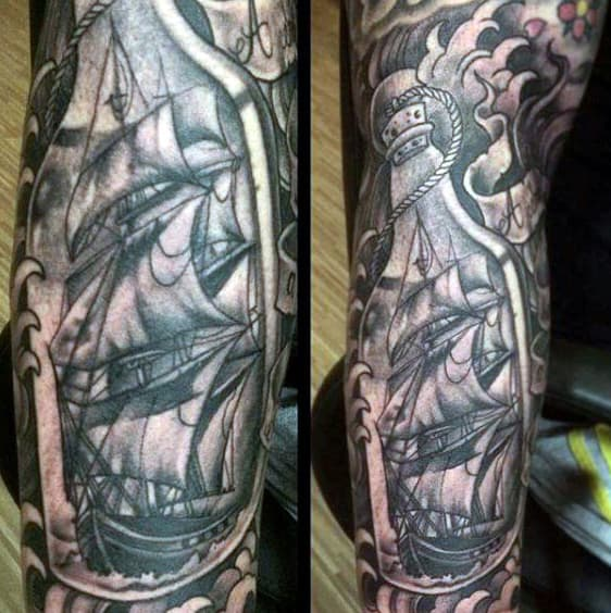 Manly Black Ink Shaded Ship In A Bottle Sleeve Mens Tattoo Ideas