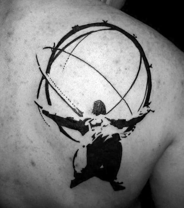 Manly Black Ink Silhouette Atlas Tattoo On Back