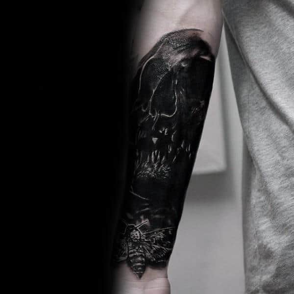 Manly Black Ink Skull With Moth Mens Forearm Sleeve Tattoos
