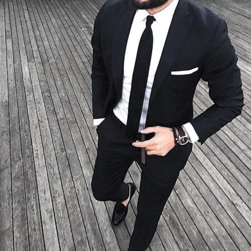 Manly Black Suit Male Style Ideas With Black Tie And Small White Pocket Square