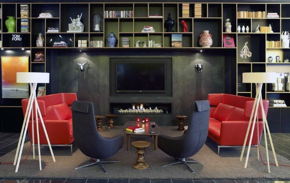 Manly Black Television Wall Design Ideas
