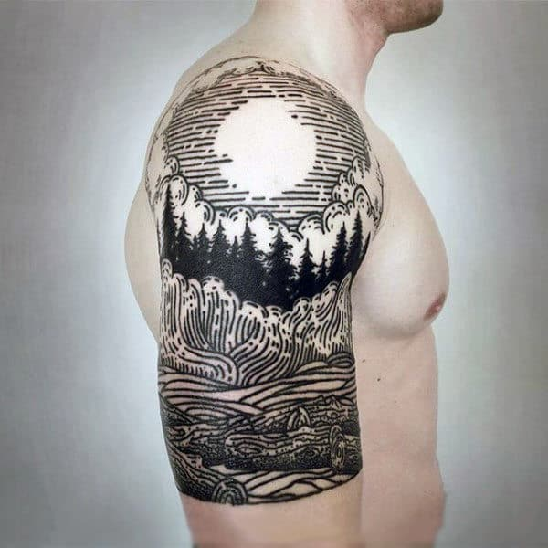 7c07ea715 Manly Black Work Fuul Moon Over Forest Half Sleeve Tattoo On Gentleman