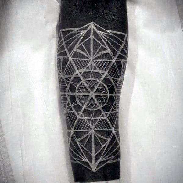 Manly Blackwork Tattoo With Geometric White Ink Overlay
