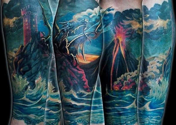 Manly Blue Ocean Waves With Volcano Leg Sleeve Tattoo Design Ideas For Men