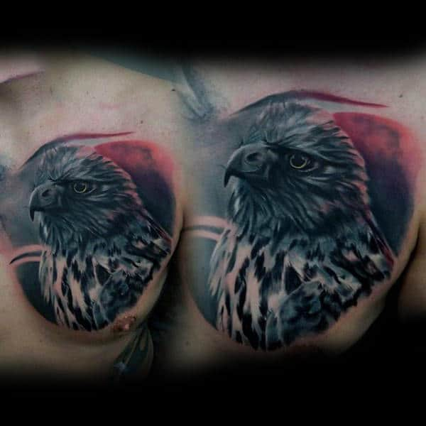 Manly Bold Hawk On Red Sky Tattoo For Gentlemen