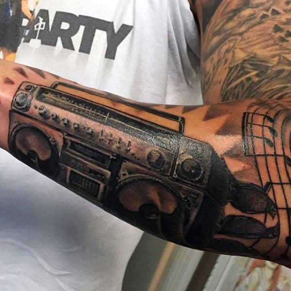 Manly Boombox Guys Outer Forearm Tattoos