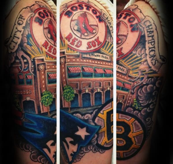 Manly Boston Red Sox Tattoo Design Ideas For Men Half Sleeve