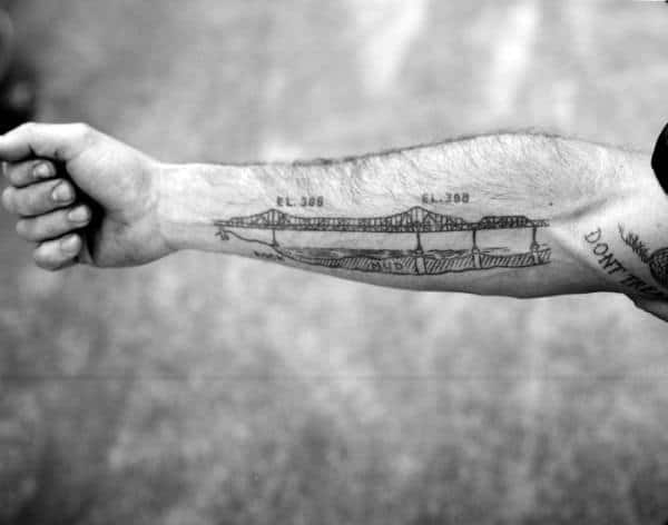 Manly Bridge Male Forearm Tattoo Designs