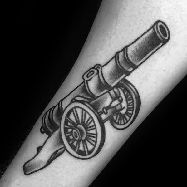 Manly Cannon Shaded Forearm Tattoo Design Ideas For Men