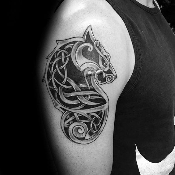 Manly Celtic Wolf Tattoo Design Ideas For Men