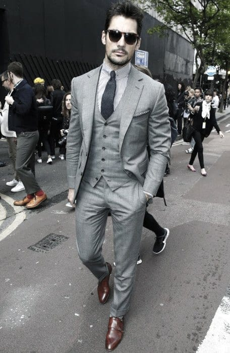 Manly Charcoal Grey Suit Brown Shoes Style For Men