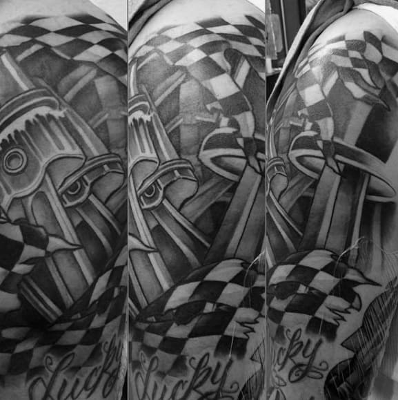 Manly Checkered Flag Tattoos For Males