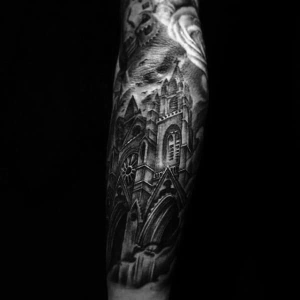 Manly Church Building Tattoo On Man