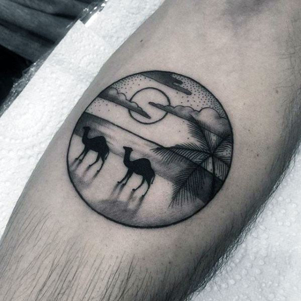 Manly Circle Camels Sun Inner Forearm Tattoo