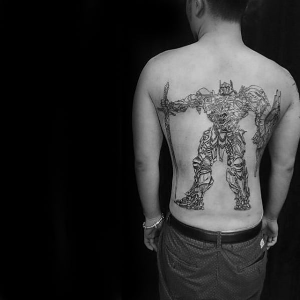 Manly Cool Transformers Black Ink Outline Guys Back Tattoo Design Ideas
