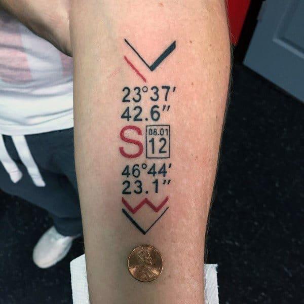 50 Coordinate Tattoo Ideas For Men - Geographic Landmark ... | 600 x 600 jpeg 52kB