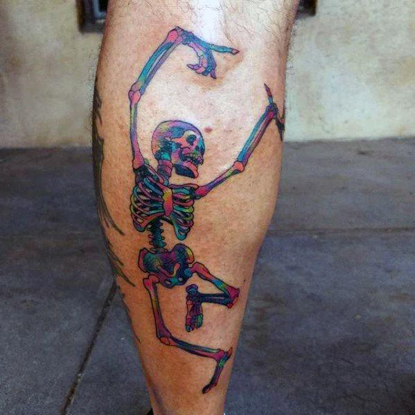 Manly Dancing Skeleton Tattoos For Males