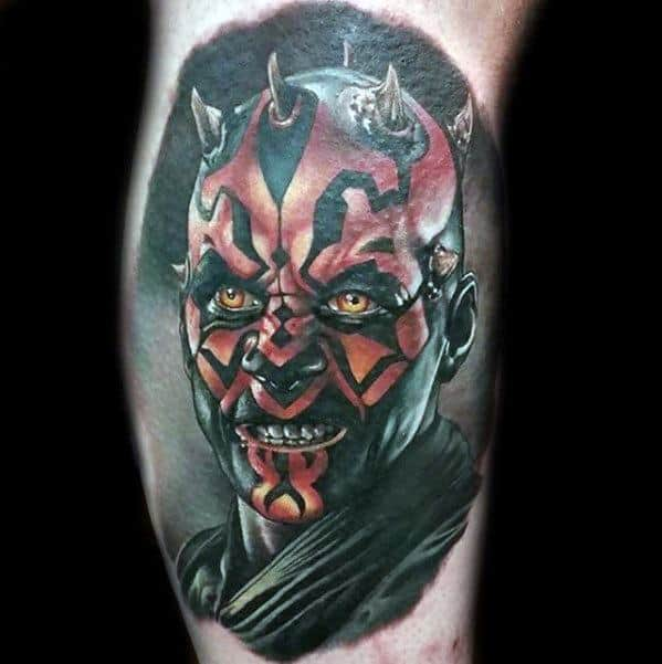 Manly Darth Maul Tattoo Design Ideas For Men Leg Calf
