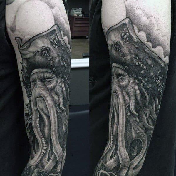 Manly Davy Jones Tattoo Full Arm 3d Design Ideas For Men