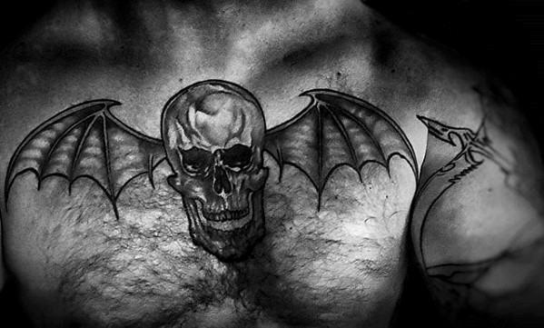 Manly Deathbat Tattoos For Guys On Chest