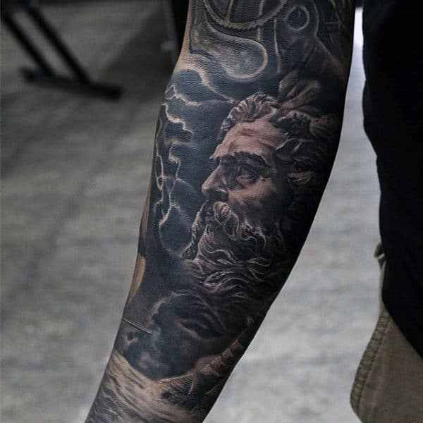 Manly Detailed Greek God Mens Sleeve Tattoos