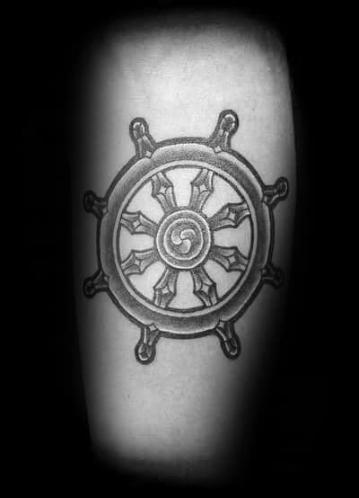 Manly Dharma Wheel Dotwork Guys Inner Arm Tattoo Inspiration