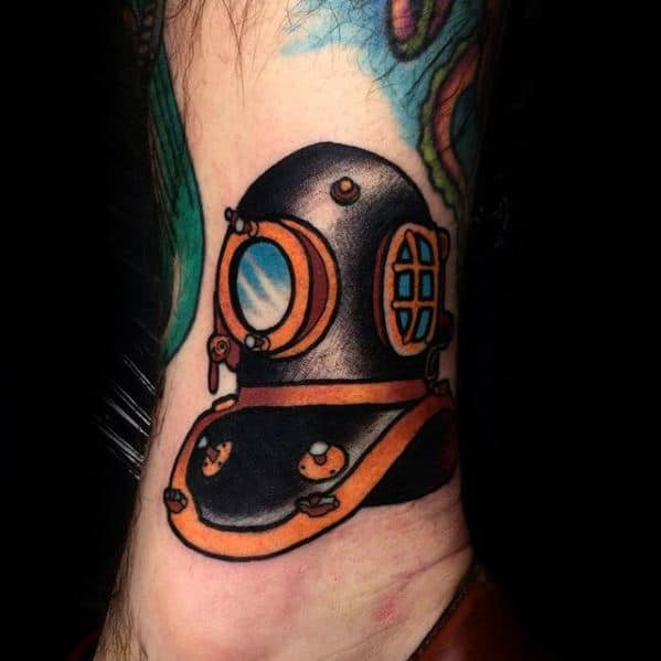 Manly Diving Helmet Traditional Old School Tattoo Design Ideas For Men Lower Leg