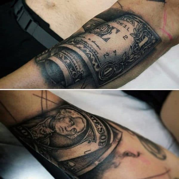 Manly Dollar Bill Money Tattoo On Forearm
