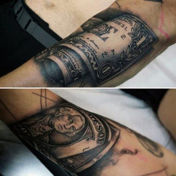 Manly Dollar Bill Money Tattoo On Forearm