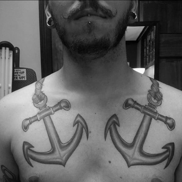 Manly Double Anchor Mens Shoulder And Chest Tattoo