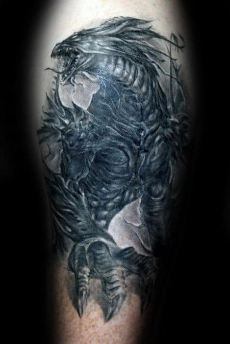 Manly Dragon 3d Guys Leg Tattoos