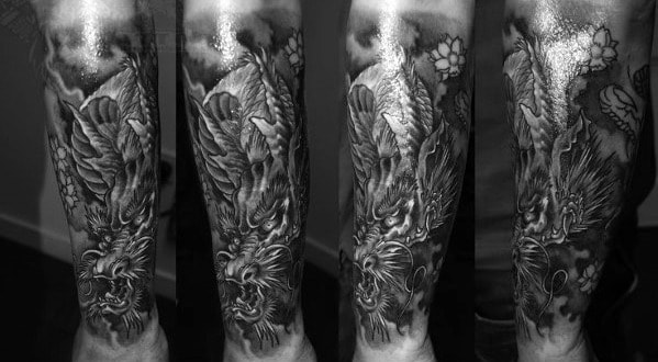 Manly Dragon Shaded Forearm Tattoo Ideas For Men