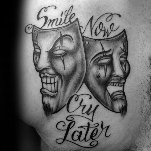 Manly Drama Mask Tattoo Design Ideas For Men Smilie Now Cry Later Upper Chest