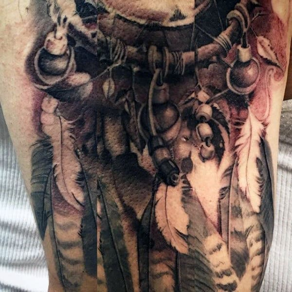 Manly Dreamcatcher Tattoo For Guys With Feathers And Beads