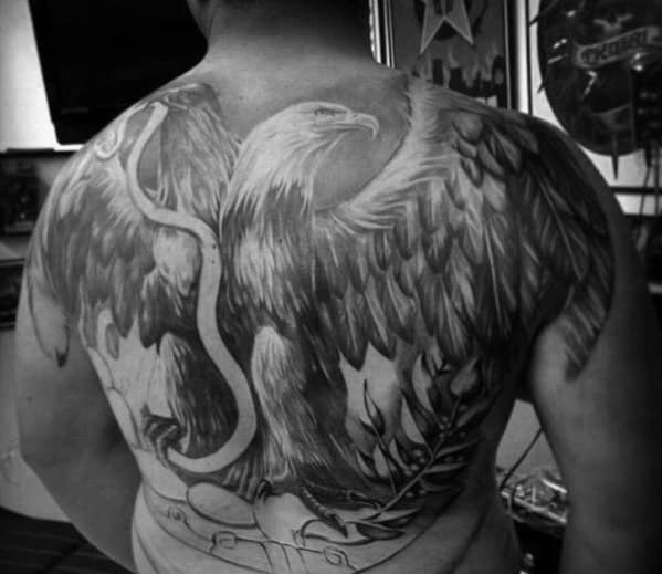 Manly Eagle Snake Guys Shaded Back Tattoos