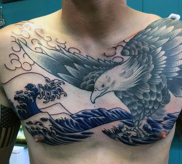 Manly Eagles Tattoos For Men With Ocean Waves