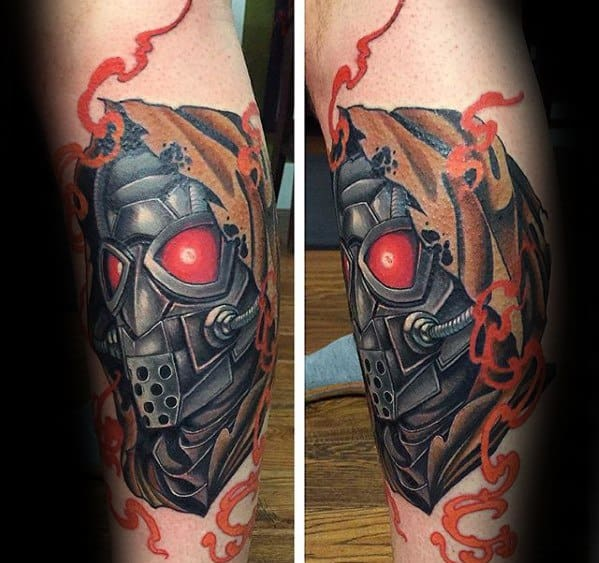 Manly Fallout Tattoo Design Ideas For Men On Legs