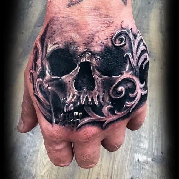 Manly Filigree Skull Mens Hand Tattoos