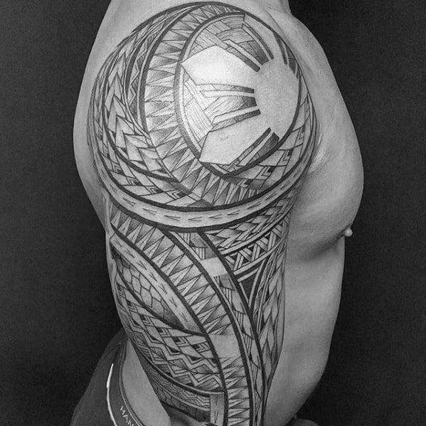 Manly Filipino Sun Tattoo Design Ideas For Men