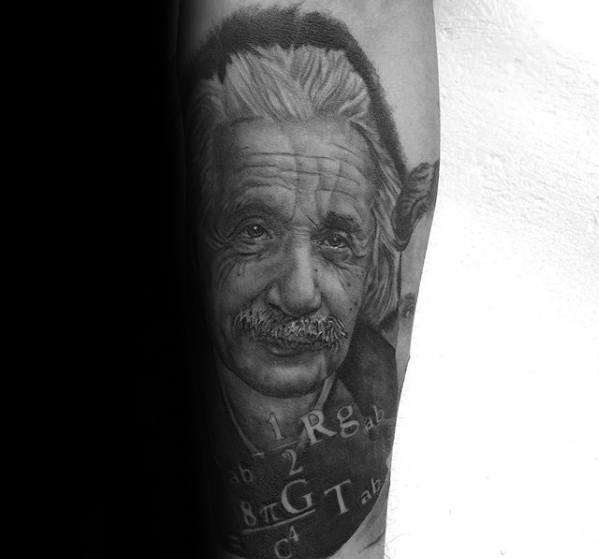 Manly Forearm Albert Einstein Tattoo Design Ideas For Men