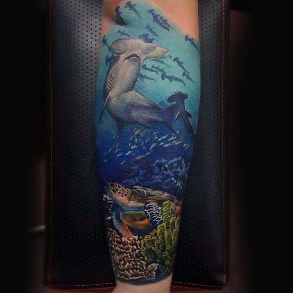 Manly Forearm Sleeve Turtle And Hammerhead Shark Tattoos For Men