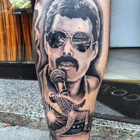 Manly Freddie Mercury Leg Tattoo Design Ideas For Men