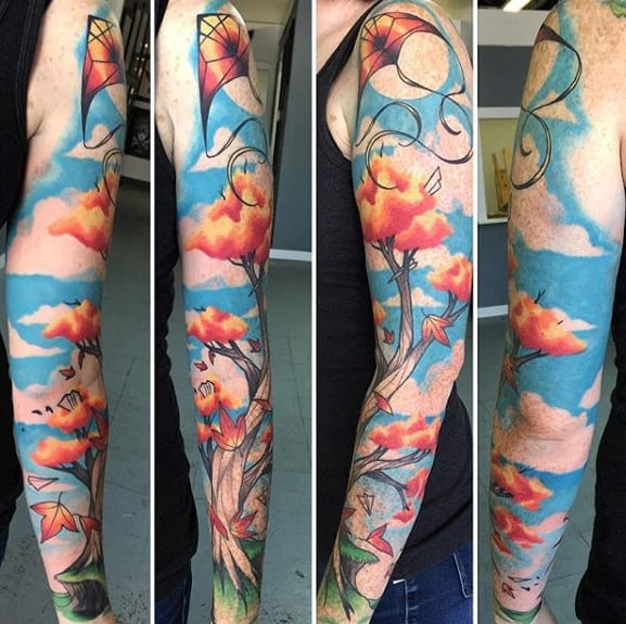 Manly Full Arm Sleeve Clouds Kite Tattoo Design Ideas For Men