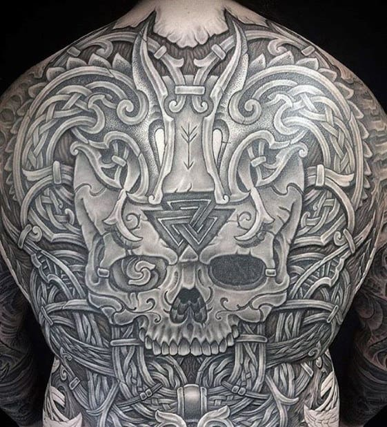 Manly Full Back Skull Viking Celtic Dragon Tattoos For Men