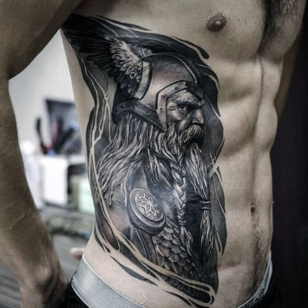 Manly Full Rib Cage Side Odin Warrior Mens Tattoos