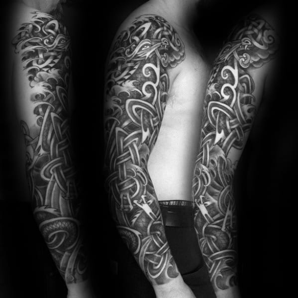 Manly Full Sleeve Guys Knots Celtic Dragon Tattoo Design Ideas