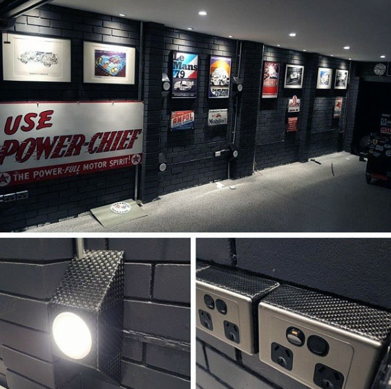 Manly Garage With Led Ceiling And Wall Lights