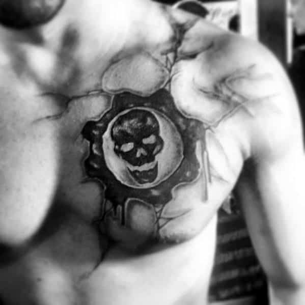 Manly Gears Of War Male Chest Tattoo Design Ideas